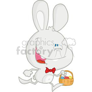 A Smiling Bunny Running with Different Colored Easter Eggs in a Basket clipart. Royalty-free image # 378404