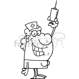 Grinning Nurse with Syringe in Slippers clipart. Royalty-free image # 378414
