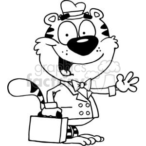 Cartoon Tiger With Briefcase Is Waving A Greeting clipart. Royalty-free image # 378419