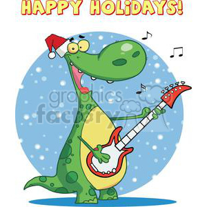 Dinosaur Plays Guitar with Santa Hat With Text Happy Holidays! clipart. Royalty-free image # 378444
