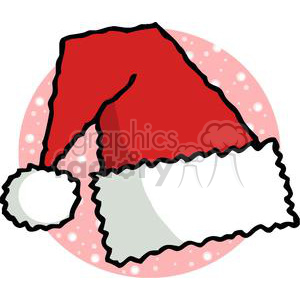 Santa Clause Hat in Front of Pink and White Snow clipart. Royalty-free image # 378454