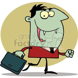 Green Vampire With Briefcase clipart. Commercial use image # 378469