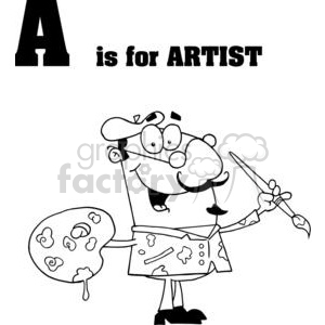 Alphabet letter A artist with brush and palette wearing a beret hat