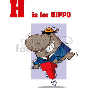 Hippo using a red Jackhammer and wearing a hard hat in black sunglasses clipart. Royalty-free image # 378529