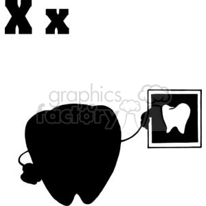 Silhouette of a Tooth Holding a X-Ray of Healthy Tooth clipart. Commercial use image # 378549