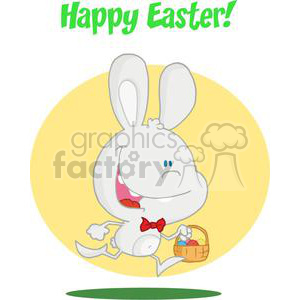Happy Bunny Running with Easter Eggs In a Basket and Text in Green Happy Eater! clipart. Commercial use image # 378554
