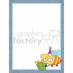 A Bee wearing a Party Hat with Gift in a Frame  clipart. Commercial use image # 378559