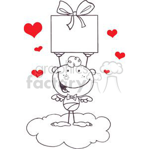 A Cupid on a Cloud with a Gift clipart. Commercial use image # 378584