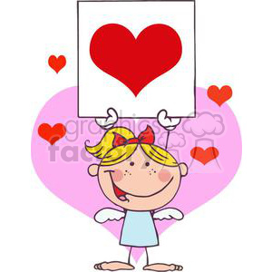stick cupid girl with banner in front of a pink heart background