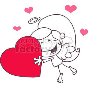 Stick Cupid Girl with a Halo Flying With Heart clipart. Commercial use image # 378594