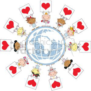 Different Nationalities Stick Cupids with Banners Heart in World clipart. Commercial use image # 378599