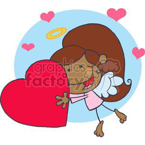 A Happy African American Cupid Girl Flying With Heart In Front of A Blue background clipart. Commercial use image # 378604