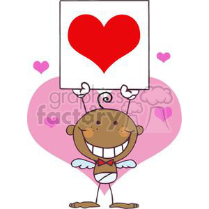 a baby african american cupid boy with banner