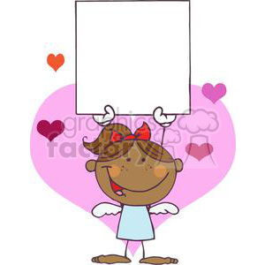 African American Cupid Girl With A Red Bow In Hair and Banner clipart. Commercial use image # 378614