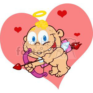 Cute Cupid with Bow and Arrow Flying In front Of A Pink Heart clipart. Royalty-free image # 378624