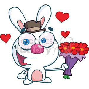 Cartoon Cute Bunny With Flowers clipart. Royalty-free image # 378629