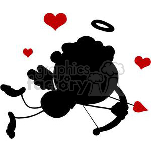 Stick Silhouette Cupid with Bow and Arrow Flying With Hearts clipart. Royalty-free image # 378639