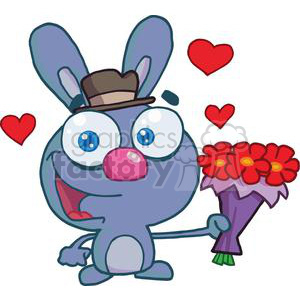 A Cute Bug Eyed Bunny With Flowers clipart. Royalty-free image # 378659