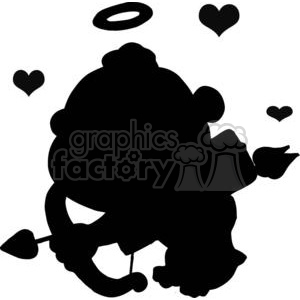 Black Silhouette of A Cupid with Halo and Hearts clipart. Commercial use image # 378664