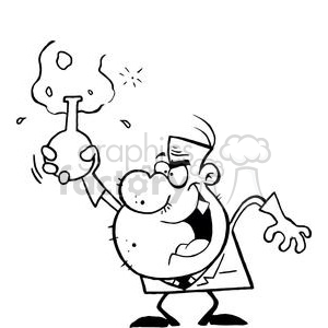 Mad Scientist Holds Bubbling Beaker Of Chemicals Up with Evil Grin clipart. Royalty-free image # 378876