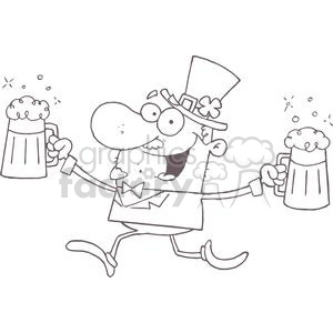 Happy Leprechaun With A Pints of BeerIn Each Hand clipart. Royalty-free image # 378881