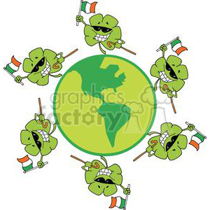 Happy Shamrocks Dancing on a Globe waving Flags of Ireland clipart. Commercial use image # 378891