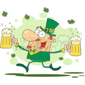 Leprechaun With Two Pints of Beer and Shamrocks Floating in the Air clipart. Royalty-free image # 378896