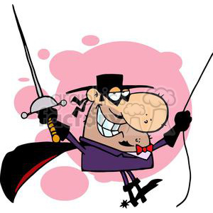 A Masked Swords Man wearing A Cape clipart. Commercial use image # 378901