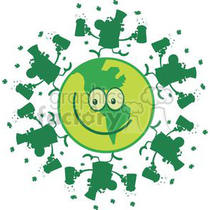 Lucky green planet with Leprechauns dancing on it clipart. Commercial use image # 378906