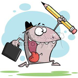 Happy Shark Runs with Hat  Briefcase and Pencil  clipart. Royalty-free image # 378911