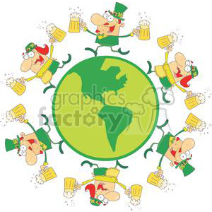 Happy Leprechauns With Two Pints of Beer on Globe clipart. Royalty-free image # 378916