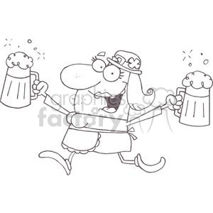 A Merry Leprechaun Woman With Two Pints of Beer clipart. Commercial use image # 378921