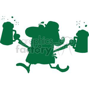 a green silhouette of happy woman leprechaun with two pints of ale