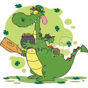 A Green and Yellow Leprechaun Dragon with pot of gold and club clipart. Commercial use image # 378936