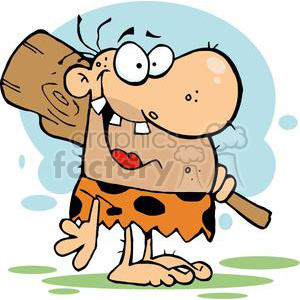 A Whacky Caveman with Club clipart. Commercial use image # 378941