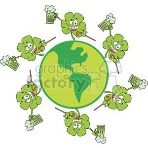 Happy Shamrocks Makes Toast with Green Beer Around The Globe clipart. Royalty-free image # 378946