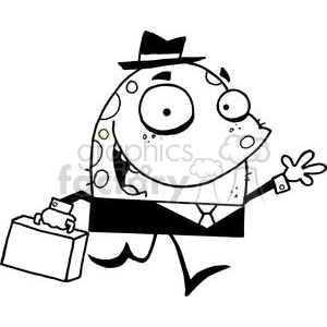 cartoon vector funny clipart black white monster character monsters alien aliens salesman business office work late running