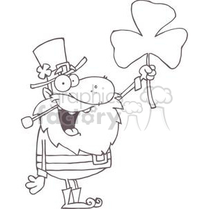 A Silly Leprechaun With Shamrock clipart. Commercial use image # 378956
