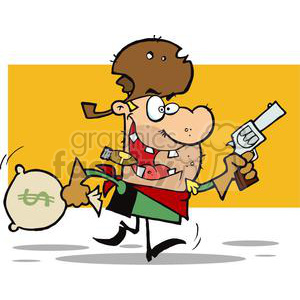 Outlaw Cowboy Steals A Bag Of Money clipart. Royalty-free image # 378961