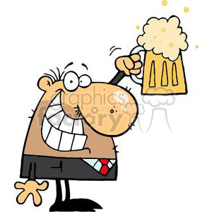 cartoon vector funny clipart beer cheers happy bar drinks drinking man guy little mug celebrating party congrats congratulations