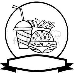Banner of Hamburger Drink And French Fries clipart. Commercial use image # 378971