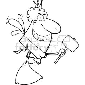 vector cartoon funny black white tooth fairy