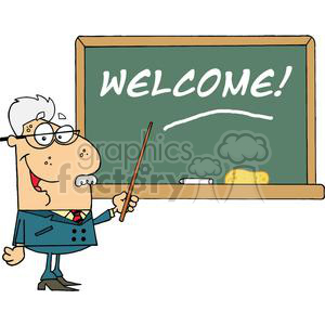A Professor Displayed On Chalk Board Text Welcome! clipart. Commercial use image # 378986