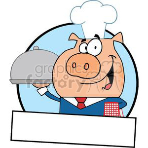 Bannner Of A Waiter Pig Serving Food On A Platter clipart. Royalty-free image # 378996