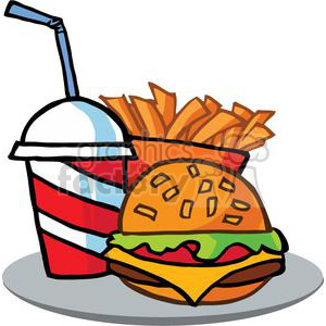 Fast Food Hamburger Drink And French Frieson A Serving Platter clipart. Royalty-free image # 379016