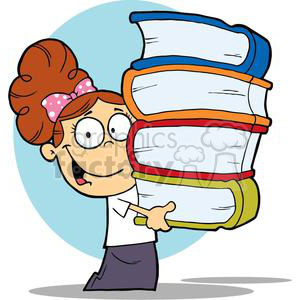 A School Girl With Books In Her Hands clipart. Commercial use image # 379021