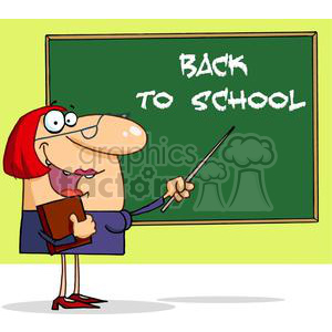 A Teacher With A Pointer Displayed On The Board Text Back To School clipart. Commercial use image # 379031