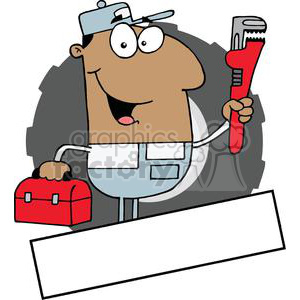 Banner Of An African American Man Carrying A Wrench And Tool Box clipart. Royalty-free image # 379036