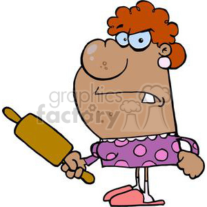 a angry african american wife with a rolling pin