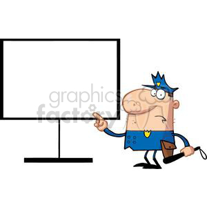 A Police Officers Pointing With His Finger At A Board With a Billy CluB In Hand clipart. Commercial use image # 379046